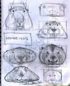 Groundhog sketches by Matt Faulkner